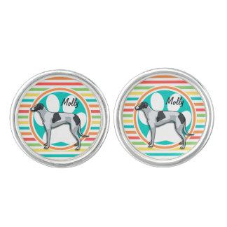 Greyhound; Bright Rainbow Stripes Cuff Links