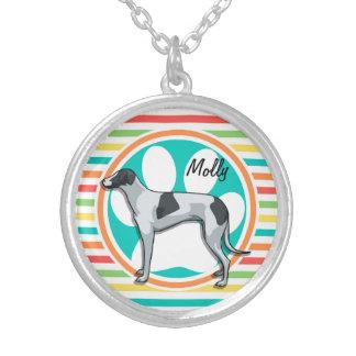Greyhound Bright Rainbow Stripes Pendant