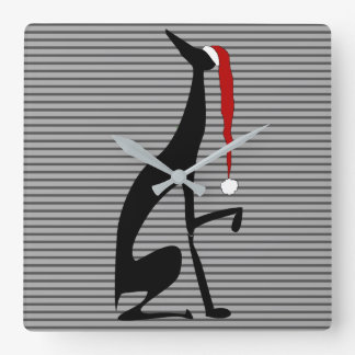Greyhound Christmas Dog Elegant Black Chic Stripes Square Wall Clock