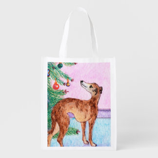 Greyhound & Christmas tree, designer shopping bag