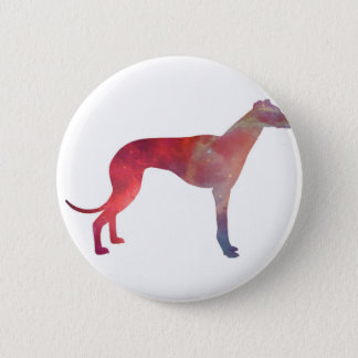 Greyhound cosmos silhouette 6 cm round badge