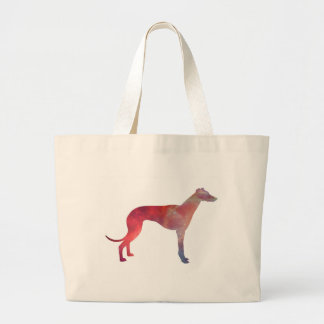 Greyhound cosmos silhouette large tote bag