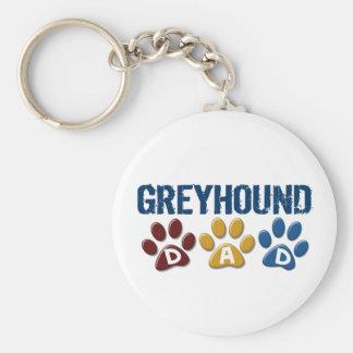 GREYHOUND Dad Paw Print 1 Basic Round Button Key Ring