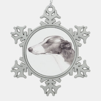 Greyhound Dog Art Snowflake Ornament