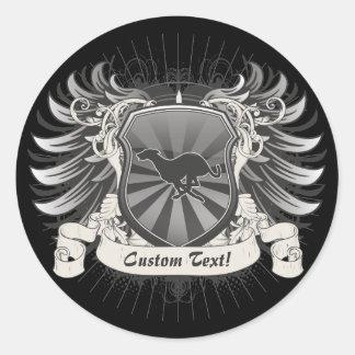 Greyhound Dog Crest Classic Round Sticker