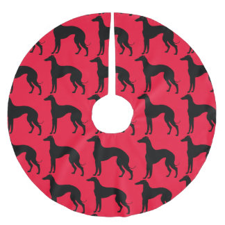 Greyhound Dog Pattern Black Silhouette Brushed Polyester Tree Skirt