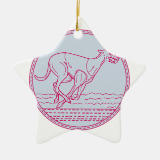 Greyhound Dog Racing Circle Mono Line Ceramic Star Decoration