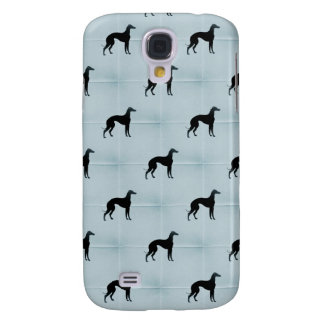 Greyhound Dog Silhouette Blue Tile Pet Pattern Samsung Galaxy S4 Cover