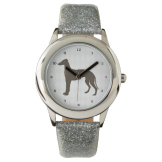 Greyhound Dog Silhouette on Diamond Shapes Watch