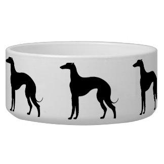 Greyhound Dog Silhouette Pet Bowls