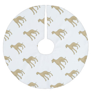 Greyhound Dog Standing Mono Line Brushed Polyester Tree Skirt