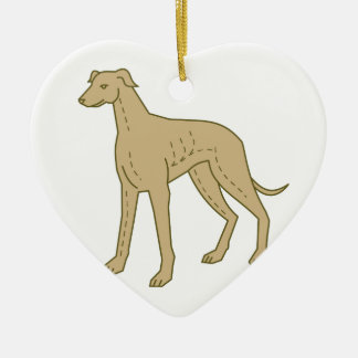 Greyhound Dog Standing Mono Line Ceramic Heart Decoration