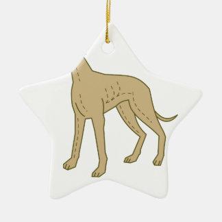 Greyhound Dog Standing Mono Line Ceramic Ornament