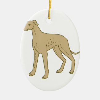 Greyhound Dog Standing Mono Line Ceramic Oval Decoration