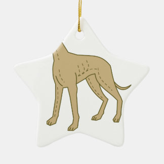 Greyhound Dog Standing Mono Line Ceramic Star Decoration