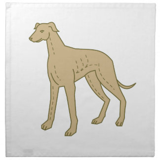 Greyhound Dog Standing Mono Line Napkin