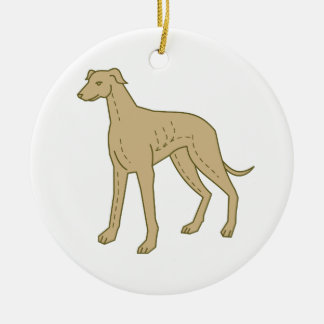 Greyhound Dog Standing Mono Line Round Ceramic Decoration