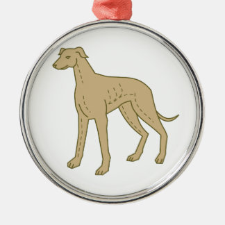 Greyhound Dog Standing Mono Line Silver-Colored Round Decoration