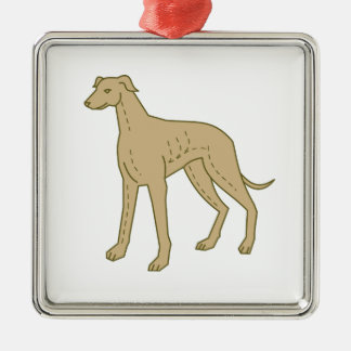 Greyhound Dog Standing Mono Line Silver-Colored Square Decoration