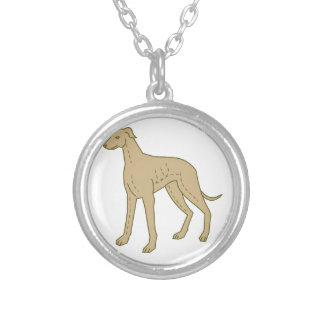 Greyhound Dog Standing Mono Line Silver Plated Necklace