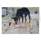 greyhound dogs scenic landscape realist art card