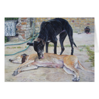 greyhound dogs scenic landscape realist art card