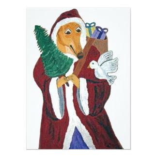 Greyhound Father Christmas 14 Cm X 19 Cm Invitation Card