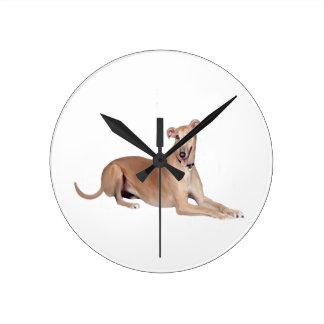 Greyhound (fawn, lying down) round clock