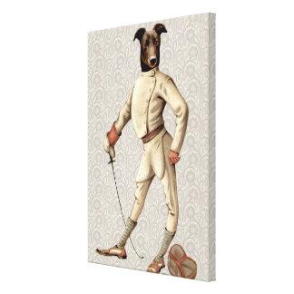 Greyhound Fencer in Cream Full Canvas Print