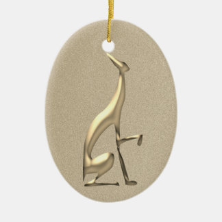 Greyhound Golden Italian Elegant Dog Classy Fancy Ceramic Ornament
