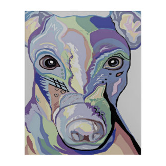 Greyhound in Denim Colors Acrylic Wall Art