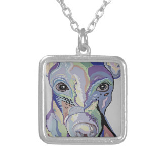 Greyhound in Denim Colors Silver Plated Necklace