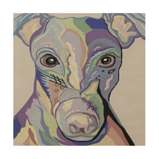 Greyhound in Denim Colors Wood Wall Art