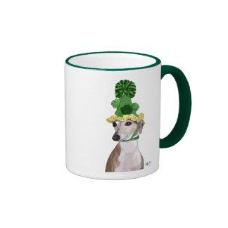Greyhound in Green Knitted Hat 2 Ringer Mug