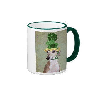 Greyhound in Green Knitted Hat Ringer Mug