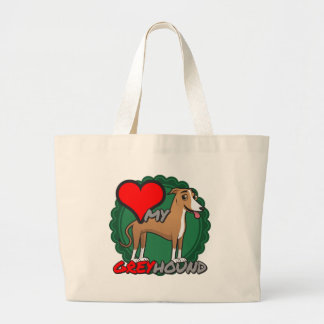 Greyhound in my Heart Large Tote Bag
