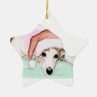 Greyhound in Santa Hat Dog Art Ornament
