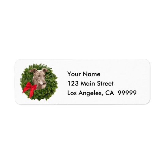 Greyhound in Xmas Wreath Return Address Label