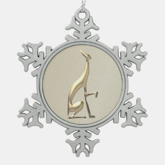 Greyhound Italian Golden Christmas Silhouette Dog Snowflake Pewter Christmas Ornament