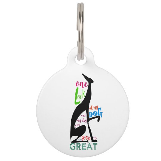 Greyhound Italian Love My Dog Stylish Black Cool Pet Tag