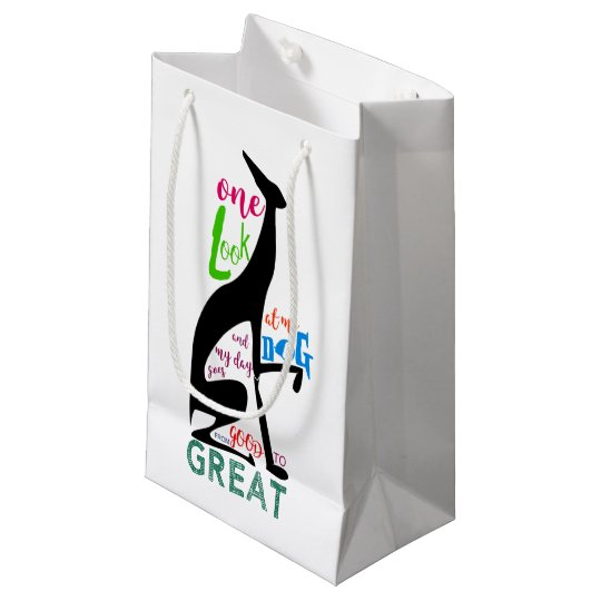 Greyhound Italian Love My Dog Stylish Black Cool Small Gift Bag