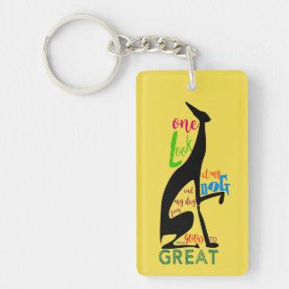 Greyhound Italian My Dog Love Elegant Silhouette Key Ring