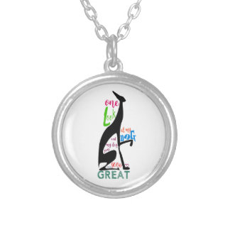 Greyhound Italian Silhouette Love My Dog Stylish Silver Plated Necklace