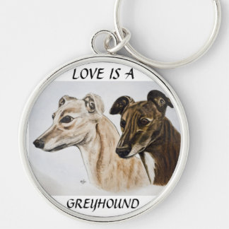 Greyhound Keyring Silver-Colored Round Key Ring