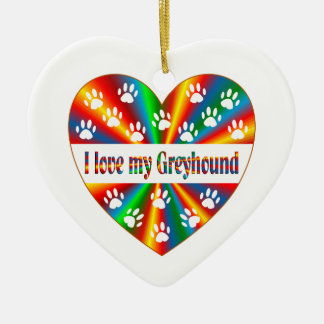 Greyhound Love Ceramic Heart Decoration