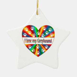 Greyhound Love Ceramic Star Decoration