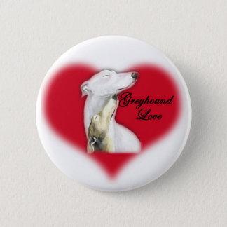 """""""Greyhound Love"""" Dog Art Button"""