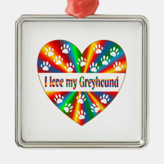 Greyhound Love Silver-Colored Square Decoration