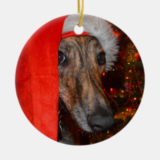 Greyhound Lurcher Santa Christmas Round Ceramic Decoration