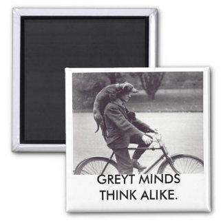 Greyhound & man on bike, GREYT MINDS THINK ALIKE Square Magnet